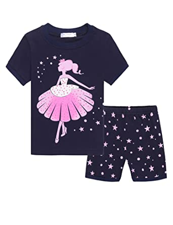 07b6e80377 Image Unavailable. Image not available for. Color  Zeagoo Girls Short  Sleeve Pajamas Set Kids Short Pjs Sets Toddler Baby Summer PJS Cotton  Sleepwears