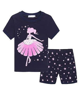 07e3a619d Amazon.com  Zeagoo Girls Short Sleeve Pajamas Set Kids Short Pjs ...