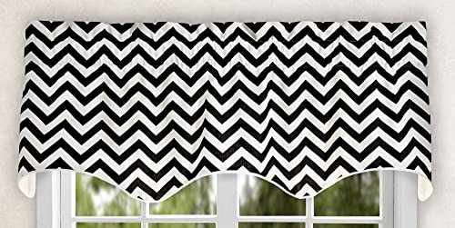 Ellis Curtain Reston Chevron Stripe Lined Scallop Valance, 50 x 17 , Black