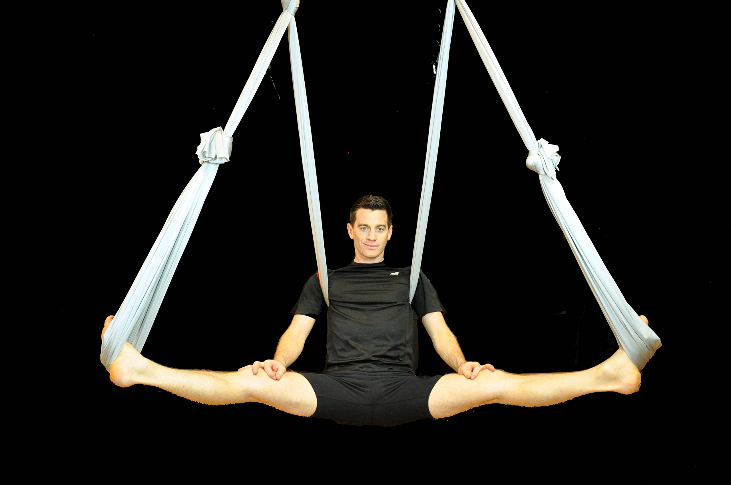 Deluxe Aerial Yoga Hammock (Yoga Swing or Sling Aerial Yoga) (Silver Streak)