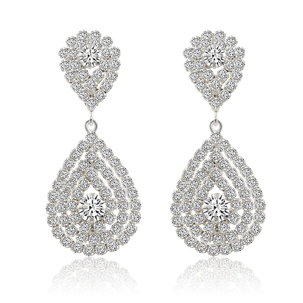 Miraculous Garden Womens Silver Plated Crystal Rhinestone Wedding Hypoallergenic Pierced Drop Earrings Dangle Earrings (Silver Plated White Crystal) Huixin Jewelry HXE0116