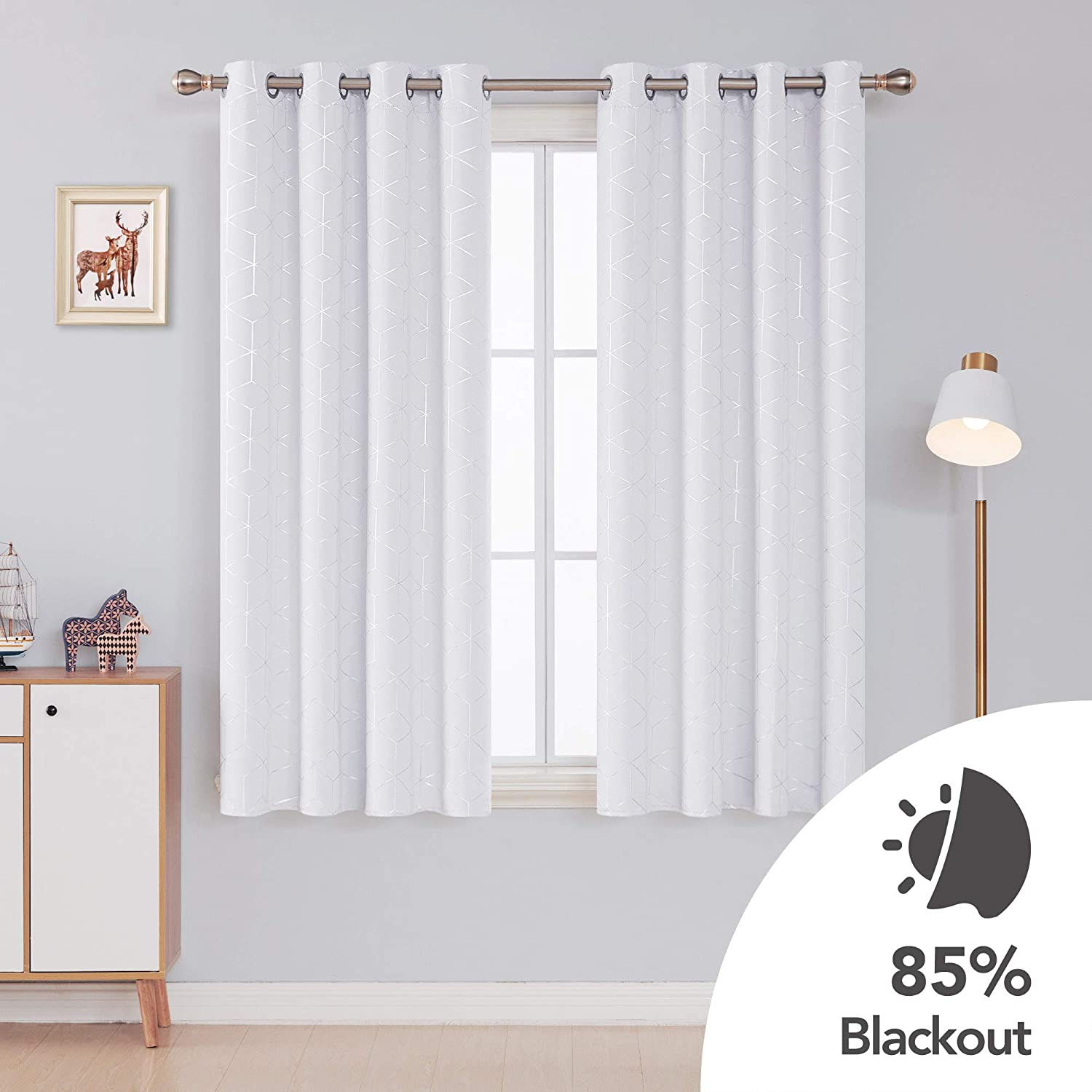 Deconovo Diamond Foil Printed Thermal Insulated Blackout Curtains Eyelet Curtains for Bedroom W46 x L72 Inch with Two Matching Tie Backs Grey One Pair