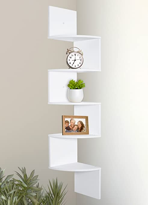 marvelous Wall Mounted Shelves White Part - 3: Amazon.com: Greenco 5 Tier Wall Mount Corner Shelves White Finish: Home u0026  Kitchen