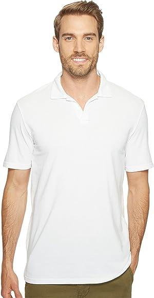 Mod-o-doc Men's Pescadero Short Sleeve Johnny Collar Polo White Shirt