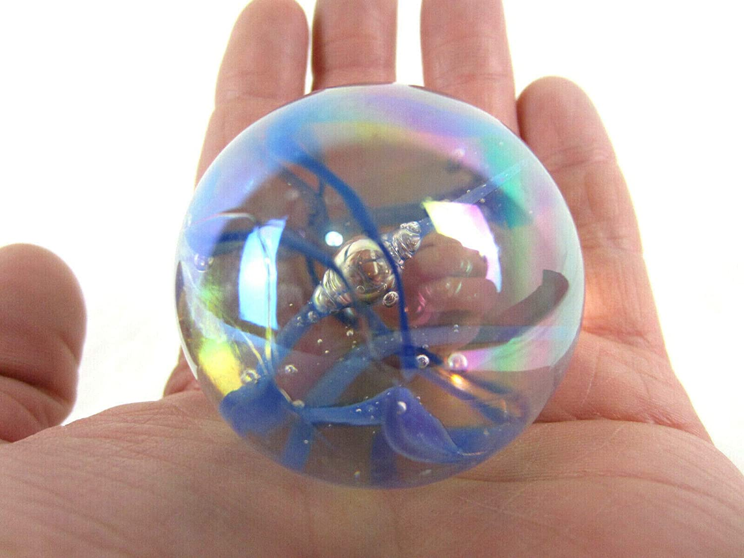 Big Game Toys~Large 2 50mm Blue Streamer Toe Breaker w//Display Stand Bubble Marble Glass Ball Large Huge Clear//Blue Iridescent Confetti Ribbon Shooter Swirl