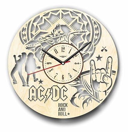 AC/DC reloj de pared hecho de madera – perfecto y muy bien corte –