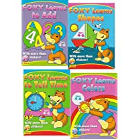 4 PACK Preschool Sticker Activity books: Foxy Learns Shapes, Colors, to Add, to Tell Time