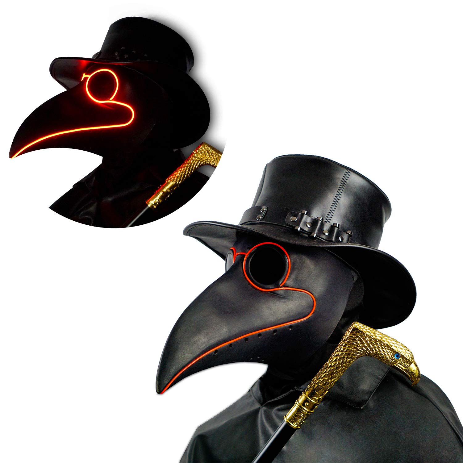 PartyHop LED Black Rubber Plague Doctor Mask Light Up, Halloween Long Nose Bird Beek Steampunk Gas Latex Face Mask, Party Cosplay Costume Prop for Kids and Adult