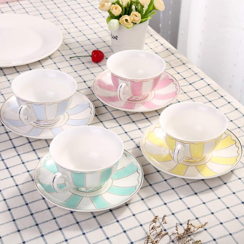 2 Set Pink-1,Blue-1 AWHOME Vintage Ceramic Teacup and Saucer Set 7 oz