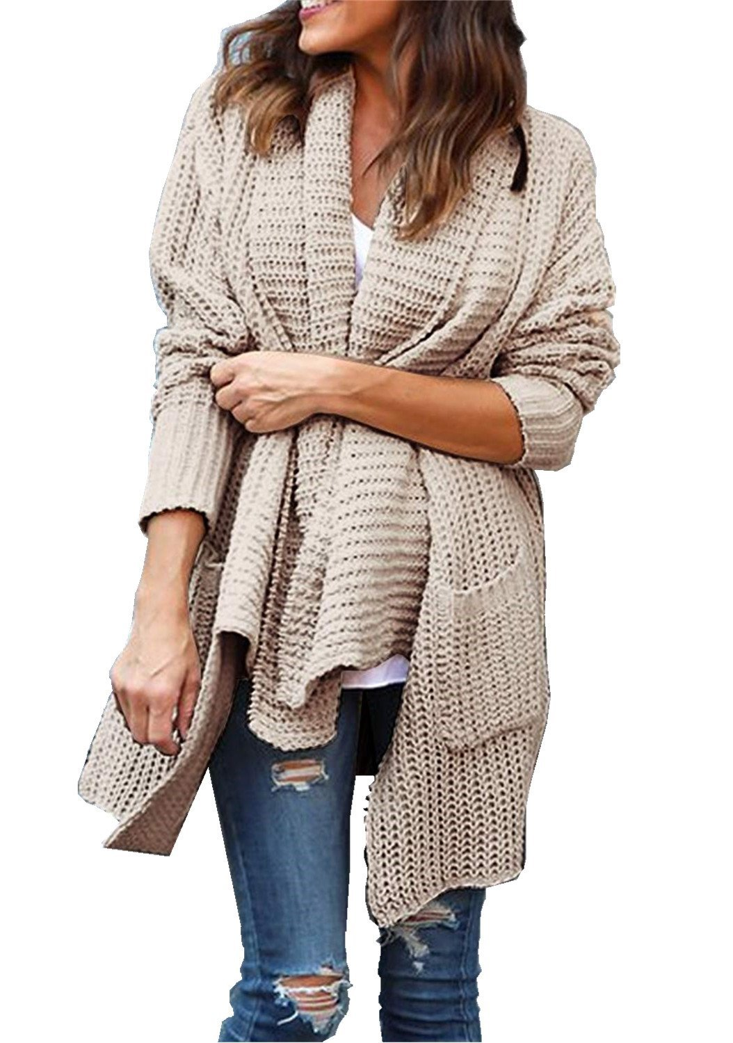 FIRENGOLI Womens Open Front Chunky Sweater Cardigan Long Sleeve Knit Coat with Pocket Khaki M
