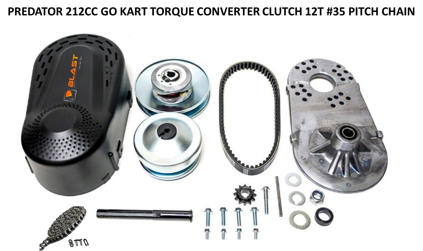 BLAST LED - Predator 212CC GO Kart Torque Converter Clutch 35 Pitch 12 Tooth 19.05mm 3/4'' Bore + 5 FEET #35 Pitch Chain & 12T #35 Sprocket