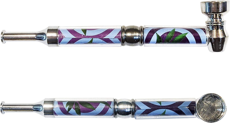 JOVAL- Pipa de Tabaco 3 Piezas Metálica de 14 cm con aleación fuerte, vinilos en el tubo con motivos diversos y y boquilla de plástico de fácil lavado, Incluye 5 rejillas de repuesto.