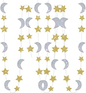 Furuix Gold Silver Twinkle Twinkle Little Star Birthday /Baby Shower Decorations Moon and Star Garland Decorations Outer Space Birthday Party Decorations Honey Moon Wedding Engagement