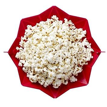 Seluna palomitas de maiz poppers con tapa, microondas palomitas de maíz eléctrica de silicona, plegable cuenco (rojo): Amazon.es: Hogar