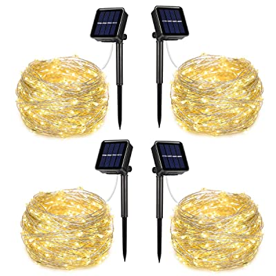 AOYOO Solar Powered String Lights, 100 LED Copper Wire Lights, 8 Modes Starry Lights, Waterproof IP65 Fairy Lights for Outdoor, Wedding, Homes, Party(Warm White)(4 Pack) : Garden & Outdoor