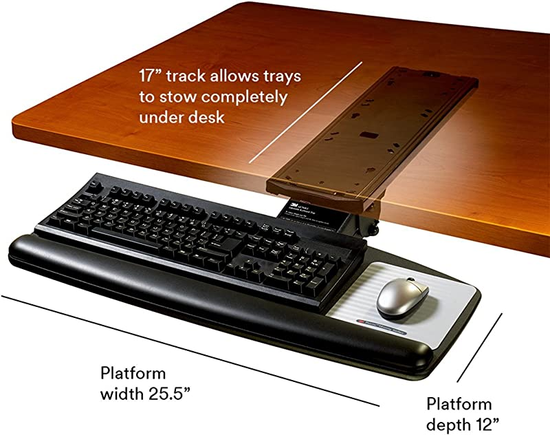 3M Keyboard Tray, Simply Turn Knob to Adjust Height and Tilt, 17 in Track, Black (AKT60LE)
