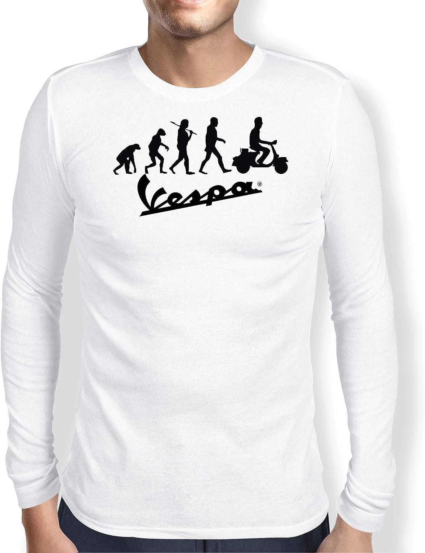 Vespa Evolution Camiseta Hombre Coche Clipart Car Auto tee Top Negro Blanco Mangas Largas Presente