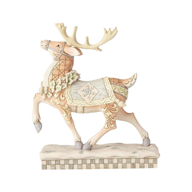 Enesco Jim Shore Heartwood Creek White Woodland Prancing Reindeer Figurine, 8 , Multicolor