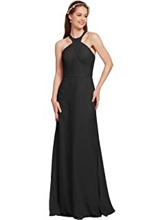 AWEI Womens Evening Dresses Jewel Neck Prom Dresses Long Bridesmaid Dresses Chiffon Formal Gown