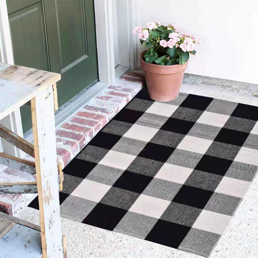 "Buffalo Plaid Rug - 18""x28"" Black and White Check Door Mat Outdoor - Farmhouse Rugs for Kitchen/Bathroom/Front Porch/Decor - Welcome Doormats - Checkered Flannel Cotton Entry Way Mats"