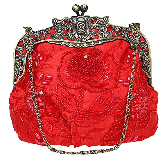Vintage & Retro Handbags, Purses, Wallets, Bags Bywen Womens Vintage Beaded Purse Party Clutch Shoulder Bags $30.54 AT vintagedancer.com