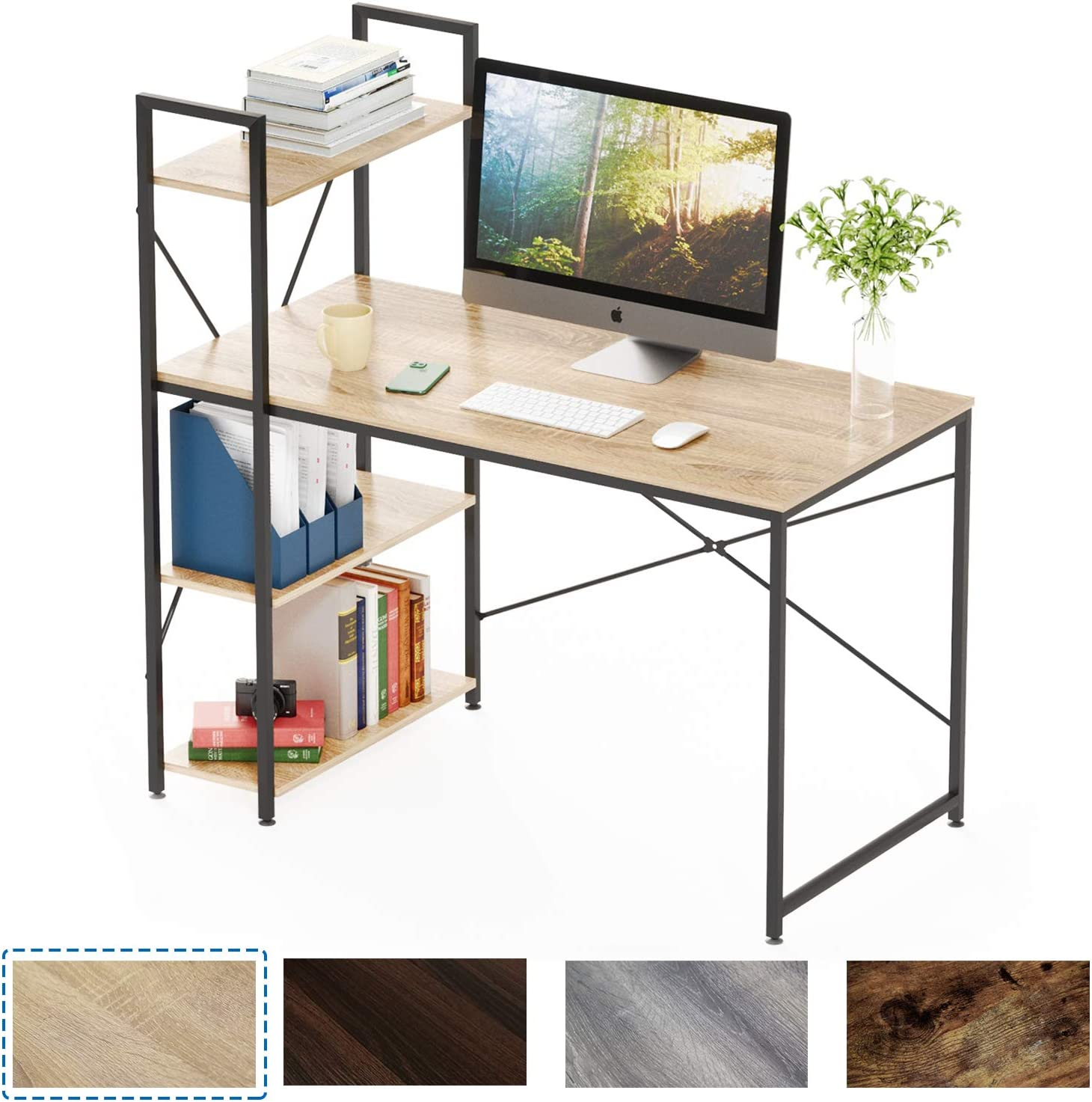 Bestier Computer Desk with Shelves,Writing Desk with Storage Bookshelf  Reversible Study Table Office Corner Desk with Shelves Home Office Desk  with