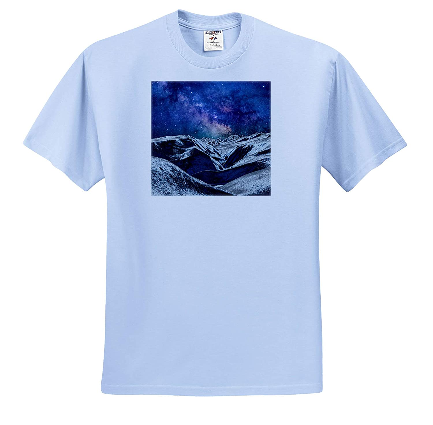 Space 3dRose Perkins Designs T-Shirts Mysterious Science Fiction Landscape of Planet in Space with Many Stars