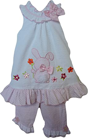 Bonnie Jean Girls Easter Bunny Seersucker Dress Outfit Set w// Capri 2T 3T 4T