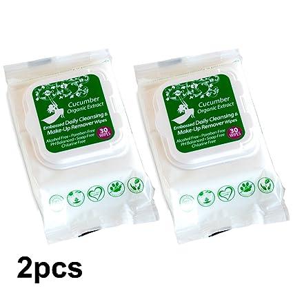 Orgánico Pepino y maquillaje Remover toallitas de limpieza diaria con Organic Aloe Vera Extract, Alcohol