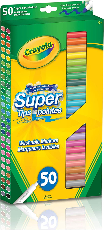 Lot de 50 Crayola Super feutre attirer épais /& Mince Multicolore Lavable Marqueurs