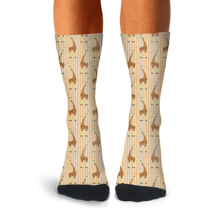 Mens Athletic Cushion Crew Sock Giraffe Art Cartoon Giraffes Brown Long Sock Comfort