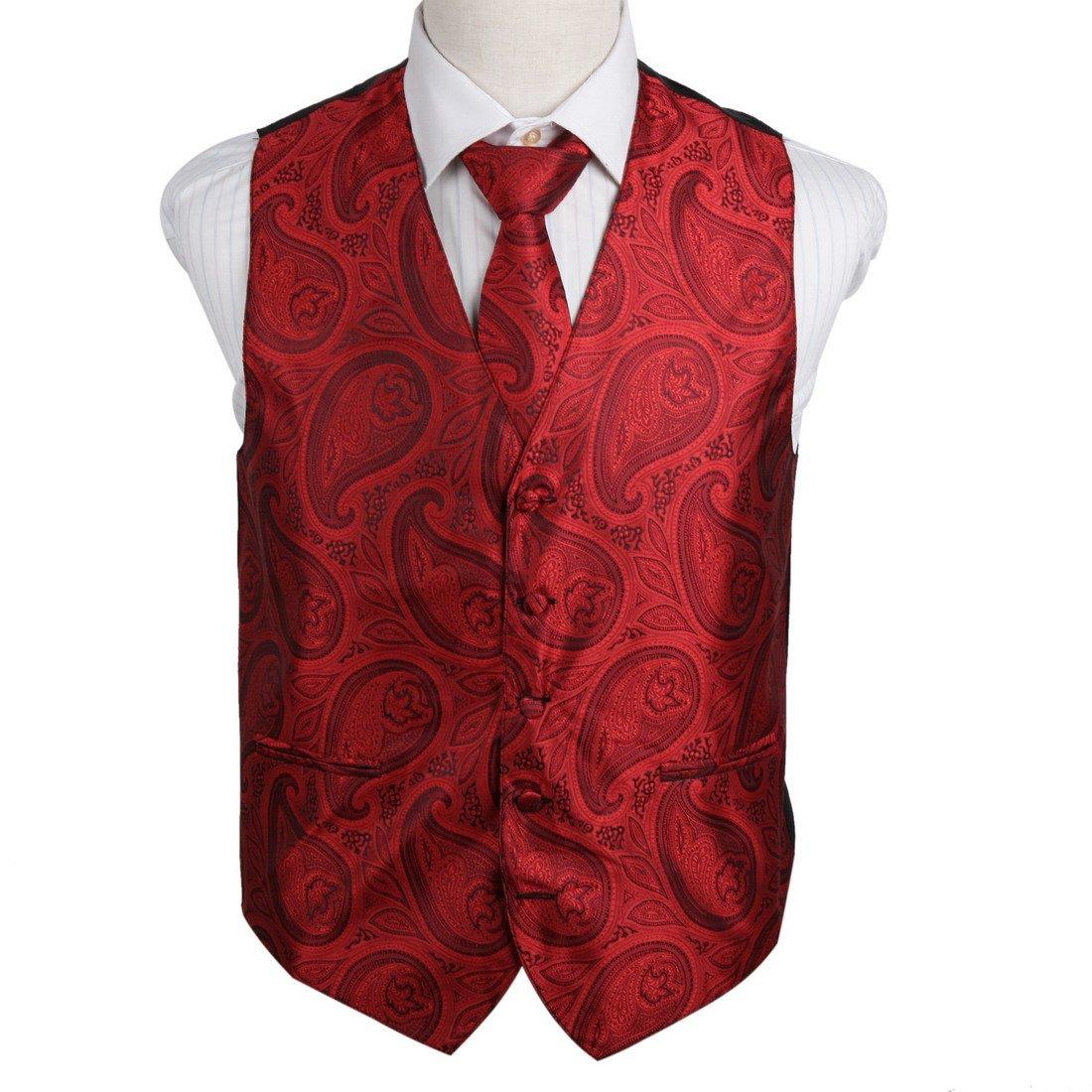 EGD2B04B-2XL Red Patterns Microfiber Dress Tuxedo Vest Neck Tie Set Series For Groomsmen By Epoint