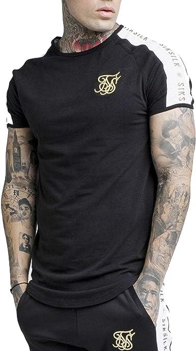 SikSilk S/S Panel - Camiseta de gimnasia, color negro, blanco y dorado Negro Negro (XXL: Amazon.es: Ropa y accesorios