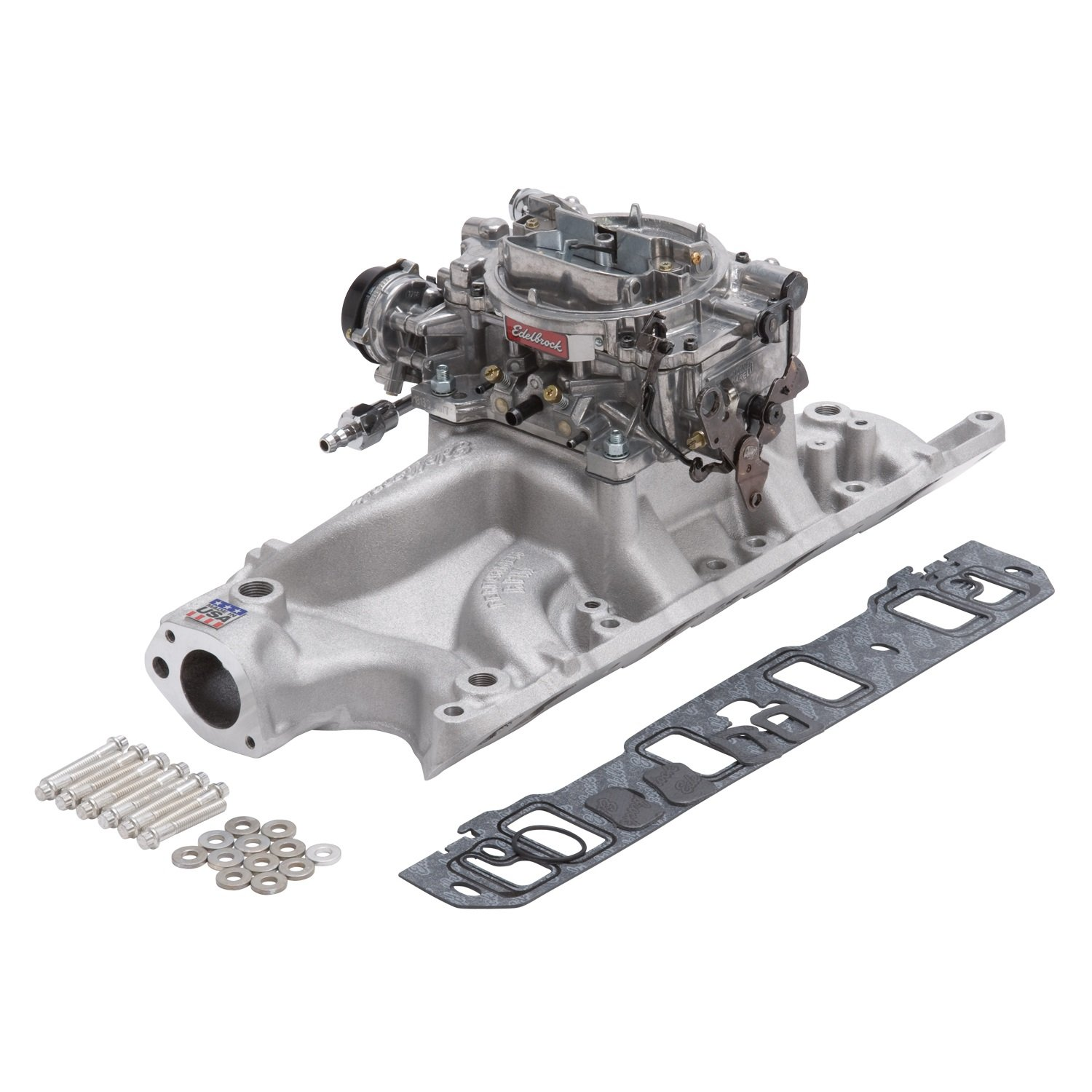 Edelbrock 2032 Single-Quad Manifold And Carb Kit Performer RPM Manifold w/800cfm Thunder Series Carb Carb/Fuel Line/Intake Bolts/Gaskets Natural Finish For Small Block Ford Single-Quad Manifold And Carb Kit by Edelbrock (Image #1)