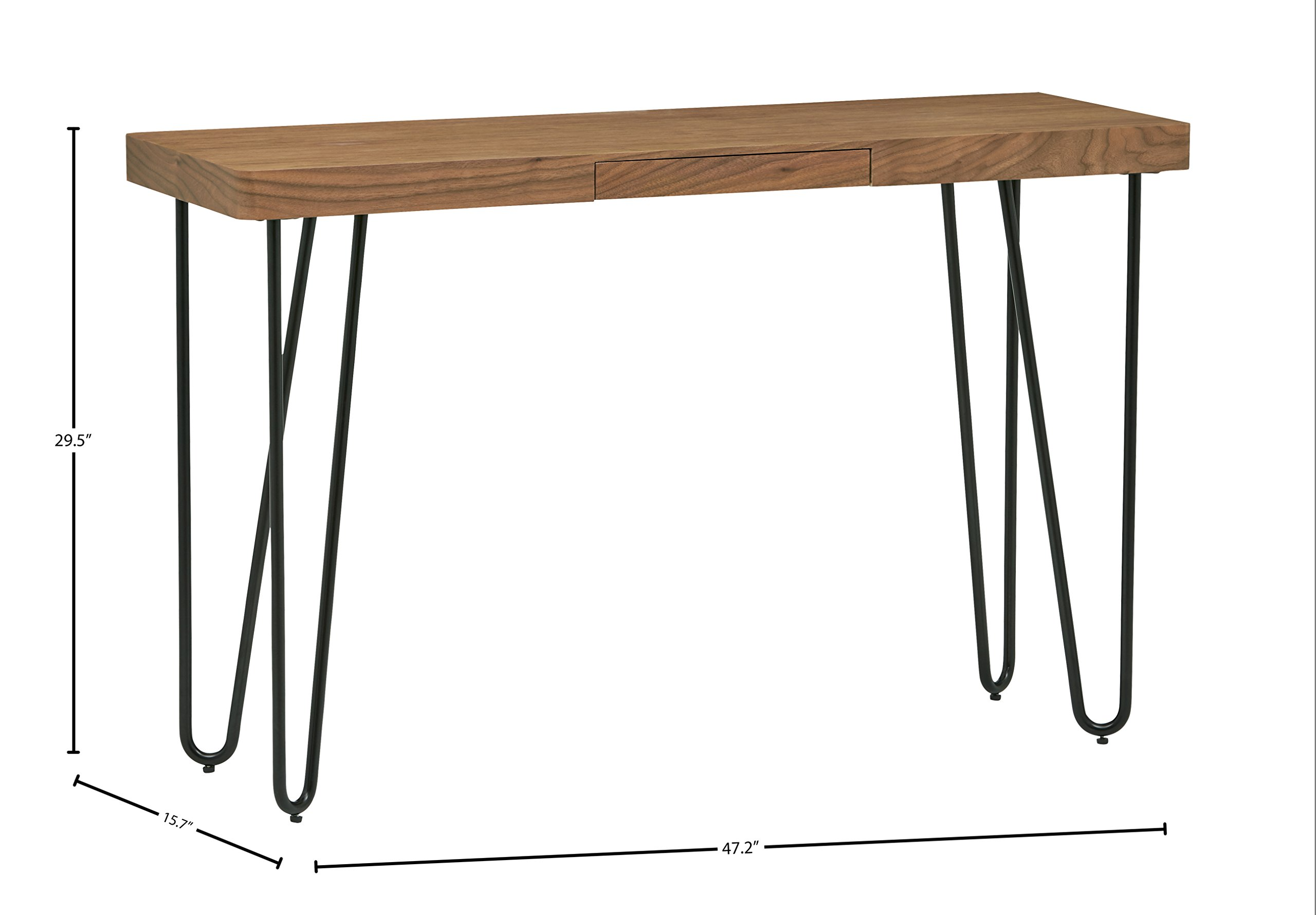 Rivet Hairpin Wood and Metal Tall 29.5'' Console Table, Walnut and Black by Rivet (Image #5)