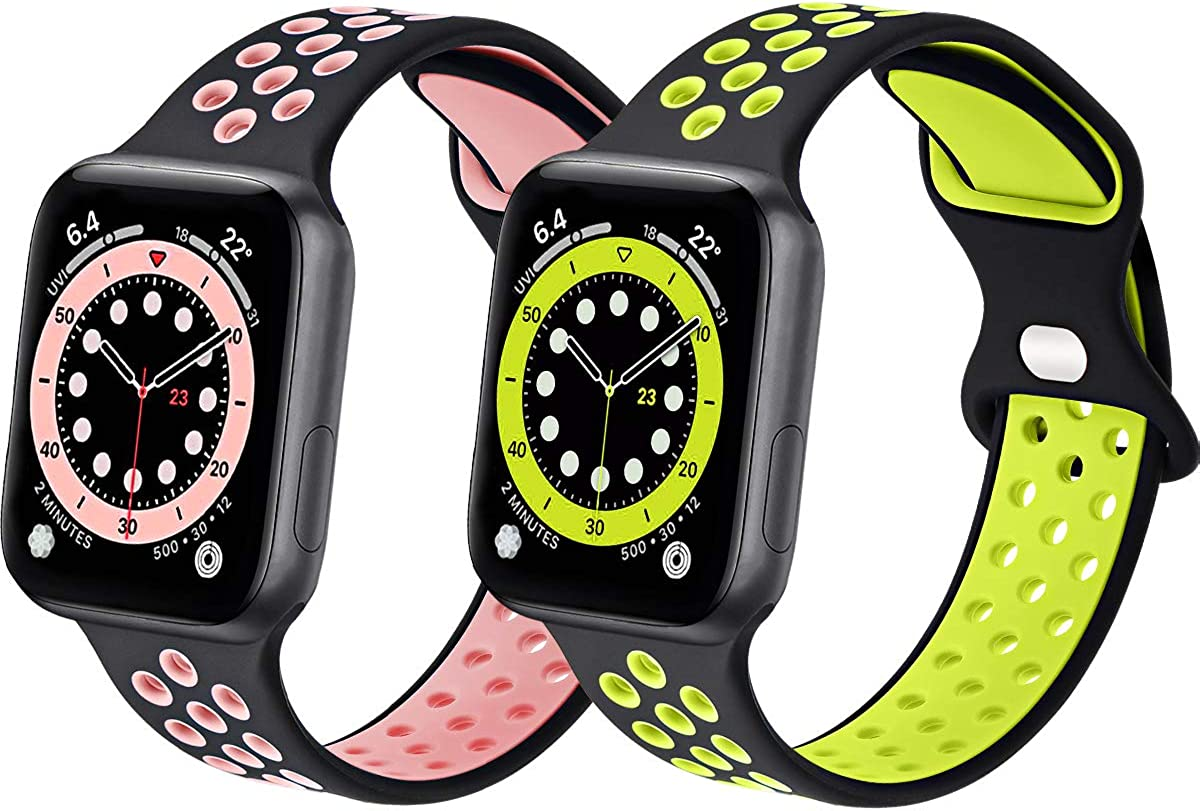 Sport Silicone Bands Compatible with Apple Watch Band 44mm 42mm 40mm 38mm, Soft Breathable Silicone Bands for Men Women Compatible for iWatch Series 6/5/4/3/2/1 SE