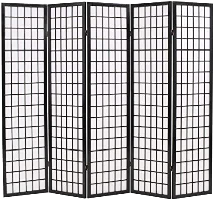 Vidaxl Folding 5 Panel Room Divider Japanese Style 200x170cm Black Paravent Amazon Co Uk Kitchen Home