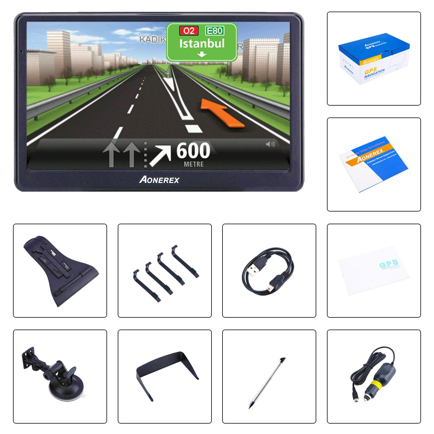 8GB Voice Prompt GPS Navigation System Built-in Lifetime Maps,Advanced Lane Guidance and Spoken Turn-by-Turn Directions car Navigation 7 inch Touch Screen
