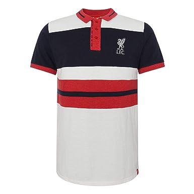 Liverpool FC Polo Hombre Blanco Paneles LFC Oficial: Amazon.es ...