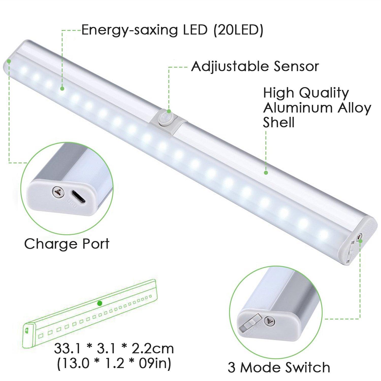 Lámpara recargable con sensor de movimiento, de Kingland, lámpara inalámbrica con sensor infrarrojo pasivo y 18 LEDES, luz cálida nocturna, perfecta para ...