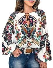 RkYAO Women Keyhole Flare Sleeve Blouse Floral Long-Sleeve Casual Shirt