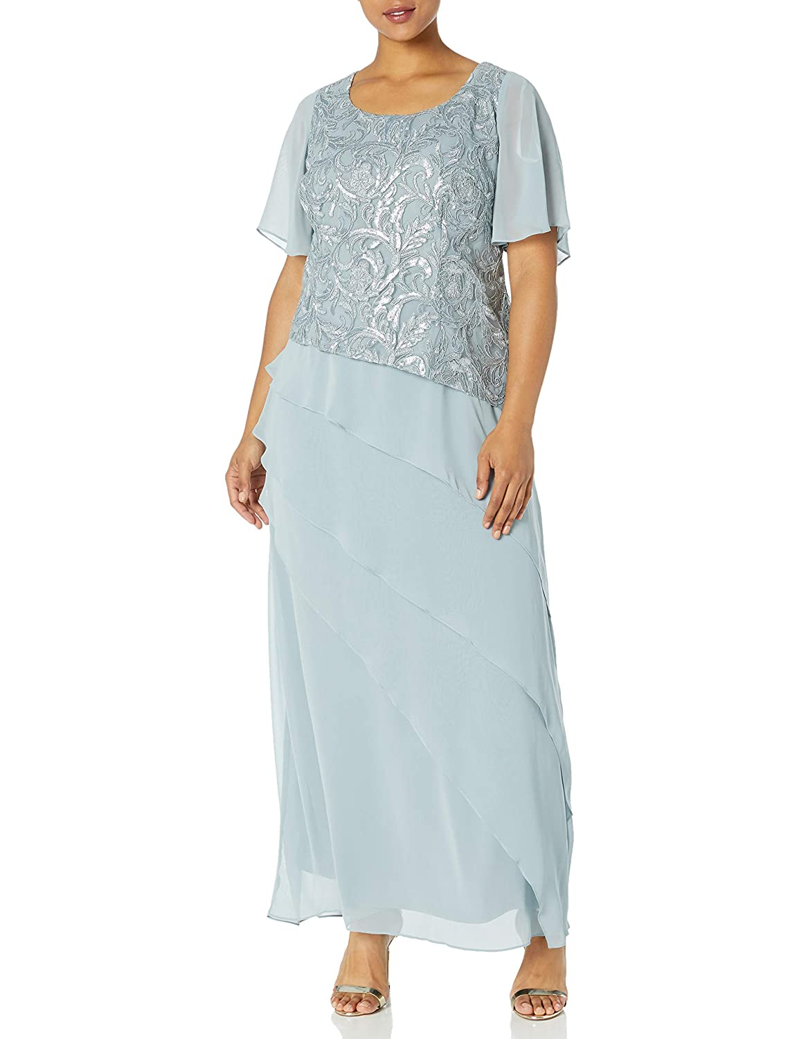 1920s Plus Size Flapper Dresses, Gatsby Dresses, Flapper Costumes Le Bos Womens Plus Size Embroidered Sequin Tiered Long Dress $138.00 AT vintagedancer.com