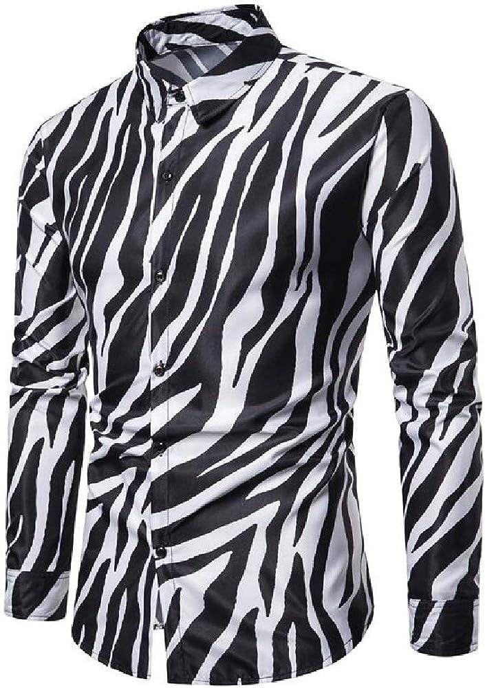 YYG Camisa de Manga Larga con Estampado de Cebra y Botones para Hombre, Talla Grande - Blanco - Large: Amazon.es: Ropa y accesorios