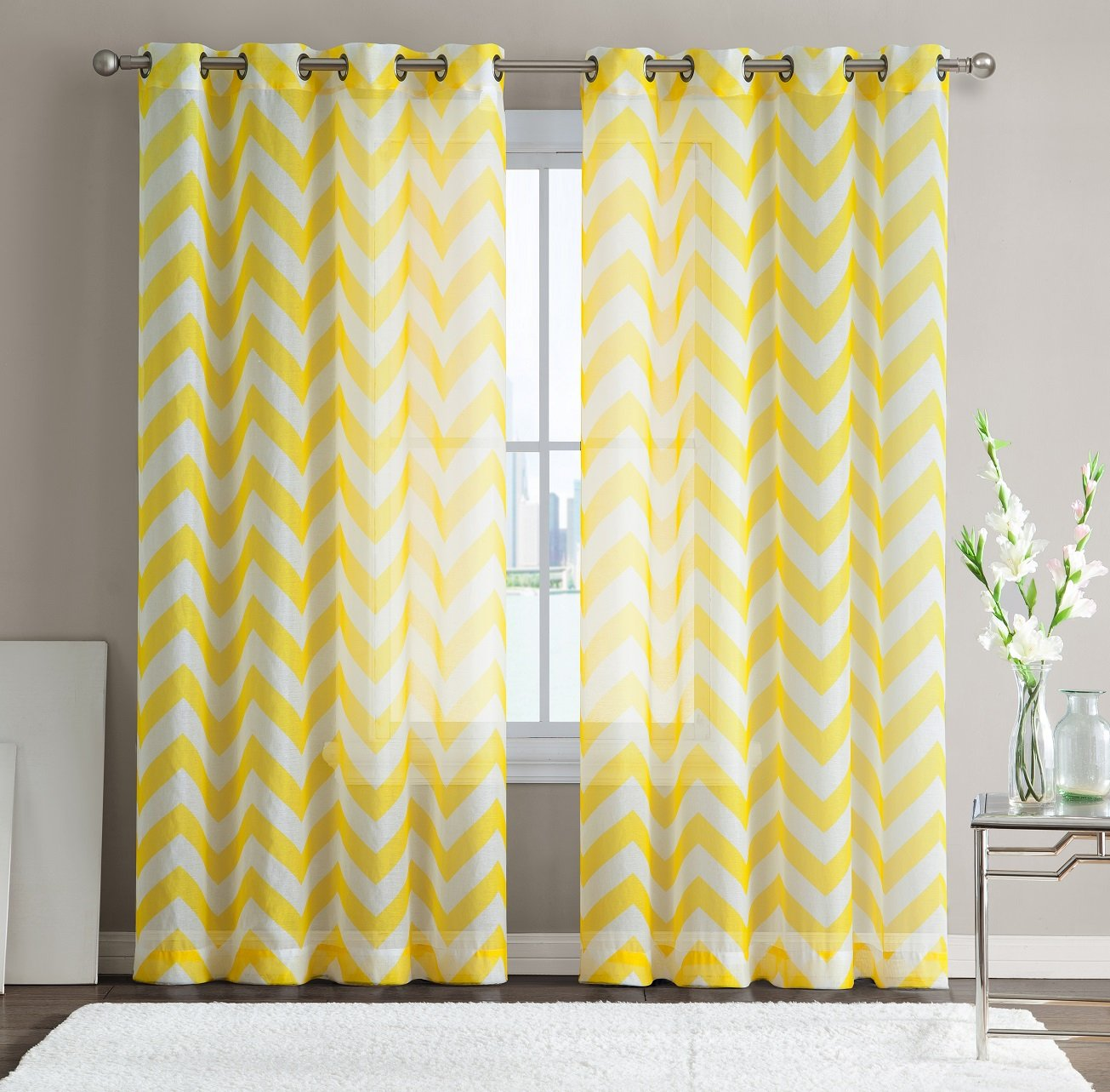 HLC.ME Chevron Printed Premium Window Sheer Curtain Voile Panels Bright Yellow
