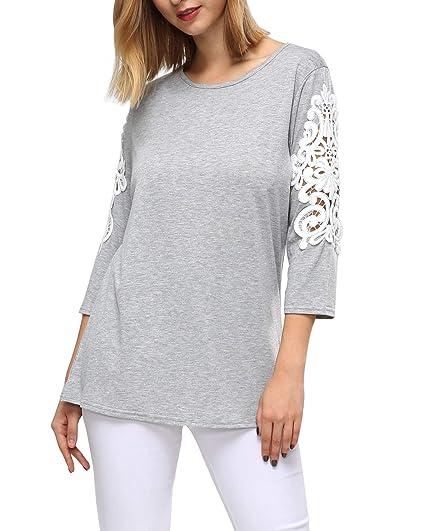 0d4e3036a Young17 Women Plain Lace T-Shirts Short Sleeve Tunic Tops for Legging (XL,