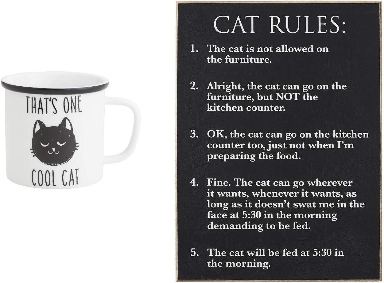 Collins Painting – Paquete de reglas de gato – Eso es un gato fresco 21 oz taza de campamento y regla de gato madera placa de pared: Amazon.es: Hogar