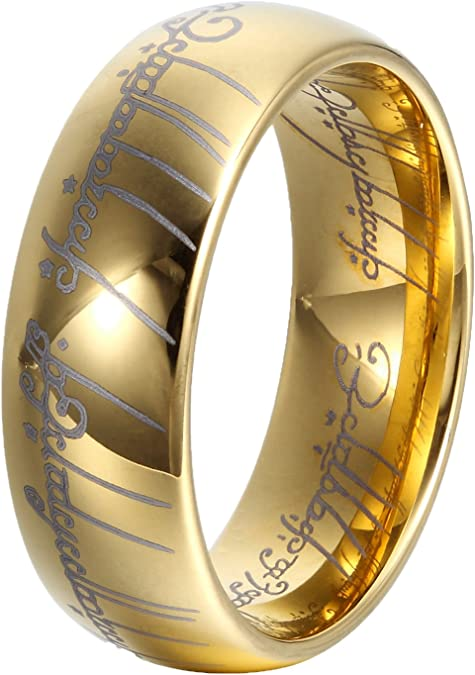 iStar 8 mm dorado carburo de tungsteno Anillo de el Señor de los anillos boda banda compromiso anillos para hombres y mujeres: Amazon.es: Joyería