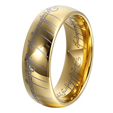ger 8mm gold lord of rings men women tungsten ring wedding band high polished promise rings - Lord Of The Rings Wedding Band