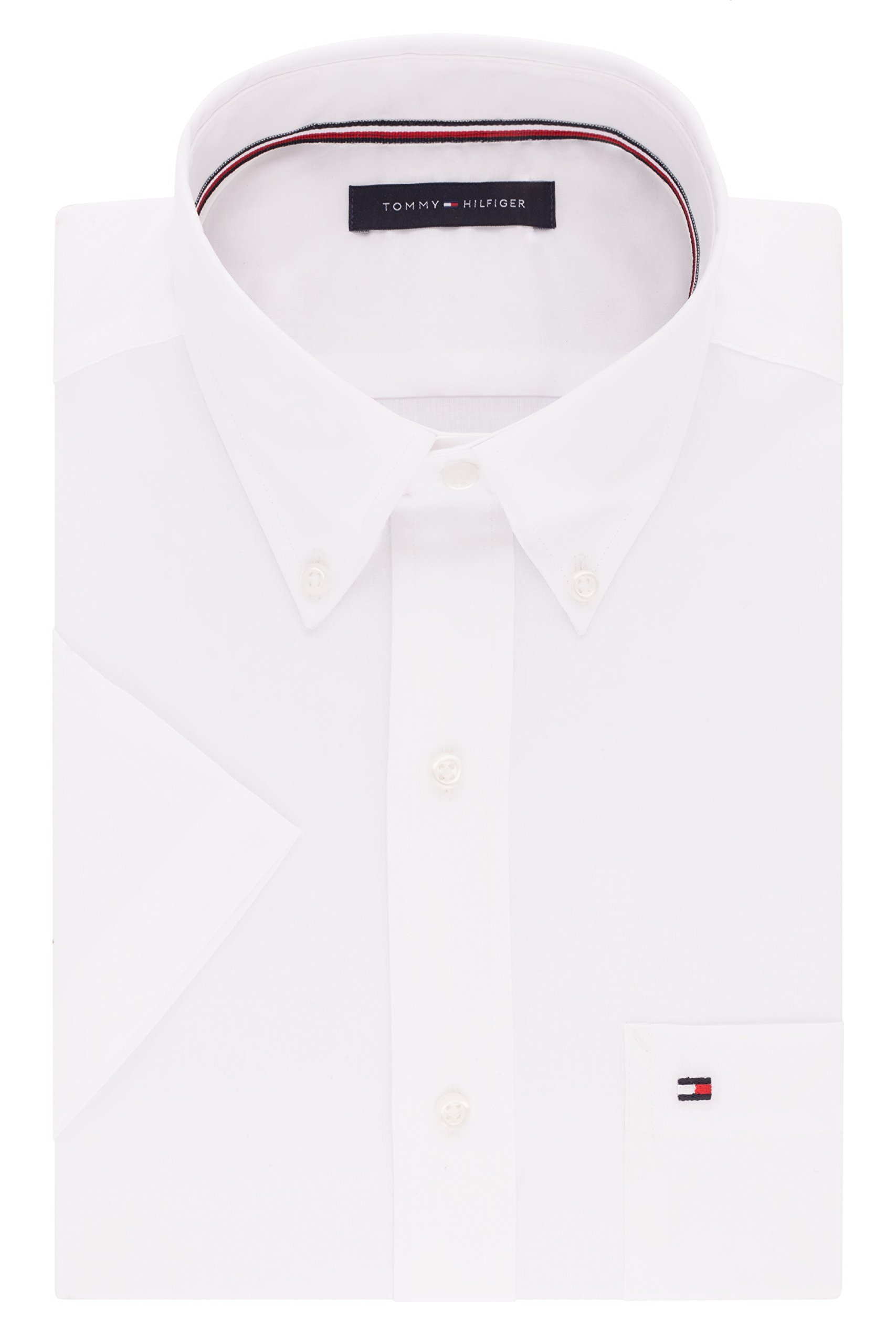 Tommy Hilfiger Men's Short Sleeve Button-Down Shirt, White, 16.5'' Neck
