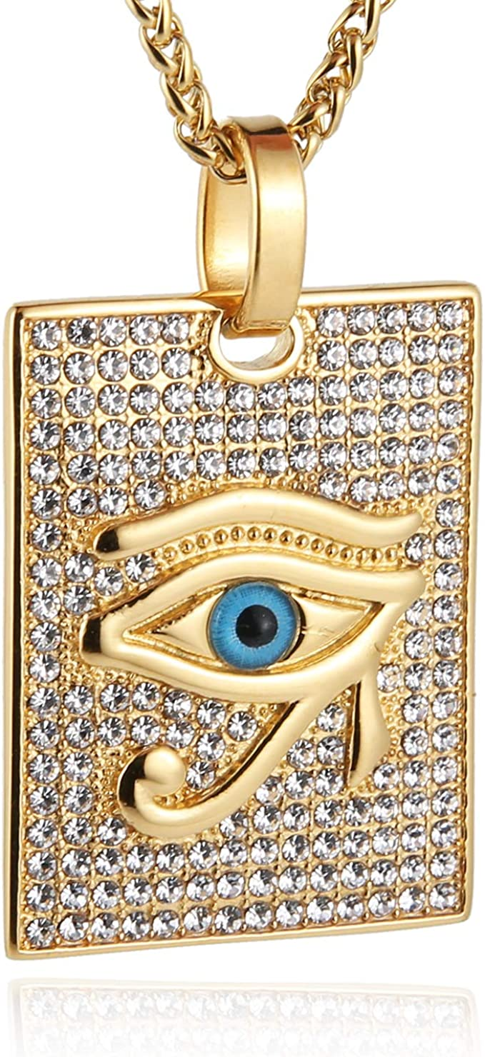 Egyptian Eye Necklace Rose Gold Shade Egypt Glass Dome Pendant Necklace